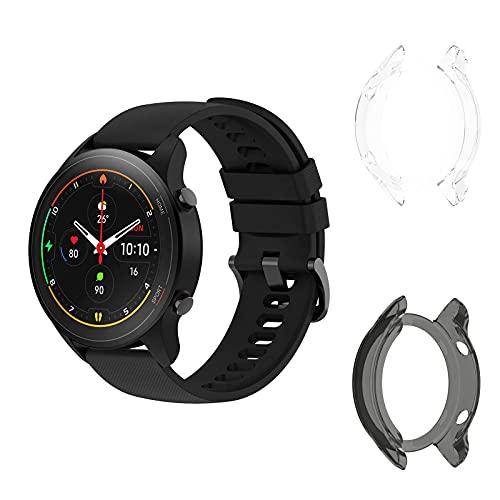 Aerku Funda Protectora Compatible con Xiaomi Mi Watch Sport, Antiarañazos Transparente TPU Funda Flexible [Negro+Blanco] - 2 Pack