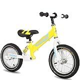 Bicicleta sin pedales Bici Balance Bike 7 años - Bicicletas de Entrenamiento Negras/Azules/Amarillas con Ruedas de 12 Pulgadas, niña/niño (Color : Amarillo)