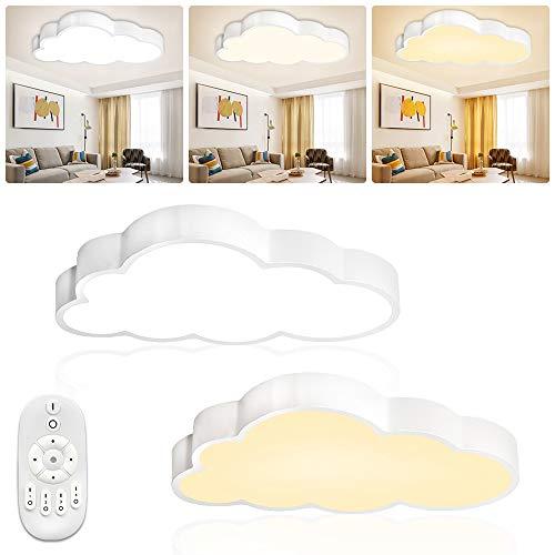 LZQ Lámpara de techo LED de 48 W para habitación de los niños, regulable, nubes, para salón, dormitorio, lámpara con mando a distancia