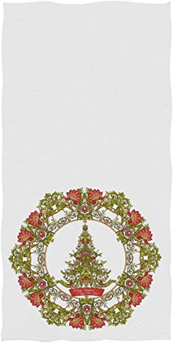 Toallas de Mano navideñas Toalla de baño, árbol único de Guirnalda de Flores navideñas Toalla de baño pequeña Ultra Suave Altamente Absorbente Invierno MerryRock SkullRegalos de decorac70×140cm