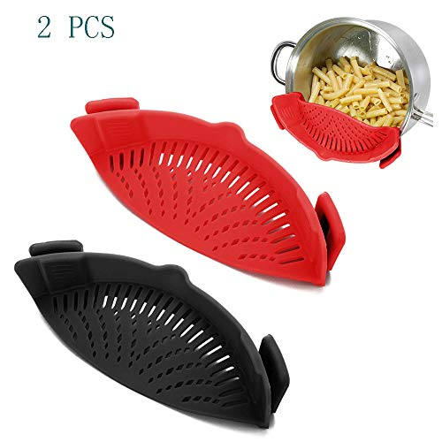 WeTest 2 Pack Heat Resistant Silicone Pot Strainer Clip on Pots Pans Pan Strainer for all Pots and Bowls  Red/Black