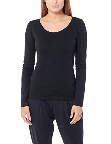 Berydale Camiseta de manga larga de mujer con cuello redondo, pack de 3, Negro, S