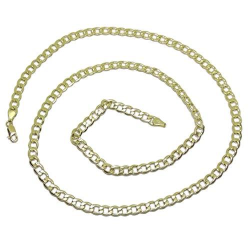 Cadena de Oro Amarillo de 18k para Hombre Tipo barbada Plana de 5mm de Ancha y 60cm de Larga. Cierre mosquetón. 12.55gr de Oro de 18k