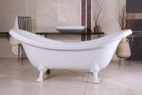 Casa Padrino Freistehende Luxus Badewanne Jugendstil Venedig Weiß/Weiß 2020 mm - Barock Badezimmer - Retro Antik Badewanne
