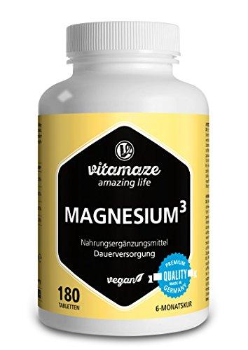 Vitamaze Magnesio³ Completo 350 mg di Magnesio Elementare, 180 Compresse Vegane per 6 Mesi, Citrato di Magnesio + Carbonato di Magnesio + Ossido di Magnesio, Eccellente Biodisponibilità