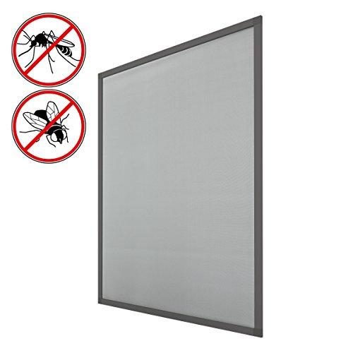 ECD Germany 4er Set Fliegengitter mit Rahmen aus Aluminium - wetterfestes Moskitonetz aus Fiberglasgewebe für Fenster - 130 x 150 cm - Grau - Insektenschutz Fliegenschutz Mückengitter Mückenschutz