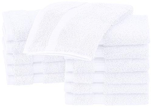 Pinzon - Lavette in tessuto misto cotone biologico, set da 12 pezzi, Bianco