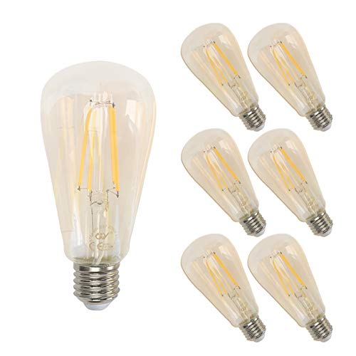 GY Bombilla LED Edison vintage, 8W, equivalente a 80W, 850 lúmenes, blanco cálido 2700K de alto brillo, bombilla de filamento LED antiguo ST64, cristal transparente, 6 uds. cada paquete, gold