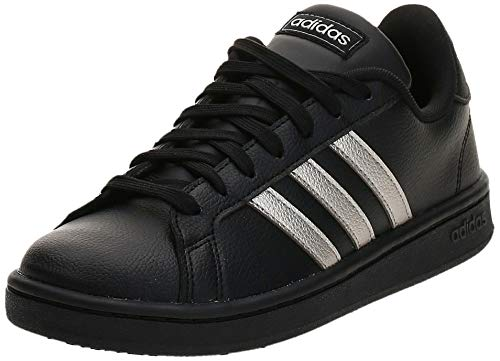 adidas Grand Court, Scarpe da Tennis Donna, Core Black/Platinum Met./Core Black, 41 1/3 EU