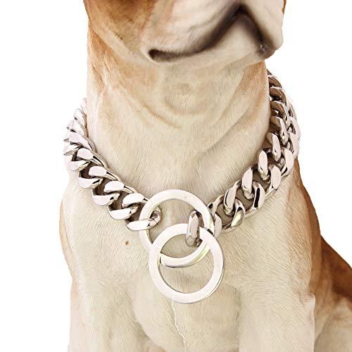 12mm large en acier inoxydable ton gros collier de chaîne d'étranglement de chien en acier inoxydable ton argent 316L personnalisé coupé chaîne gourmette cubaine chaîne 12-30 pouces, 26 pouces