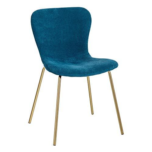 LOLAhome - Sedia da pranzo vintage, in velluto di 77 x 56 x 46 cm, colore: blu