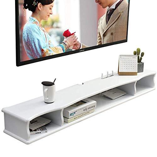 Szafka TV Pływająca podstawka pod telewizor Szafka na półkę Konsola multimedialna TV Box Szafka na kable (kolor: biały, rozmiar: 120x24cm)