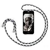 ZhinkArts Handykette kompatibel mit Apple iPhone 5 / 5S / SE (2016) - Smartphone Necklace Hülle mit Band - Handyhülle Hülle mit Kette zum umhängen in Schwarz Camouflage