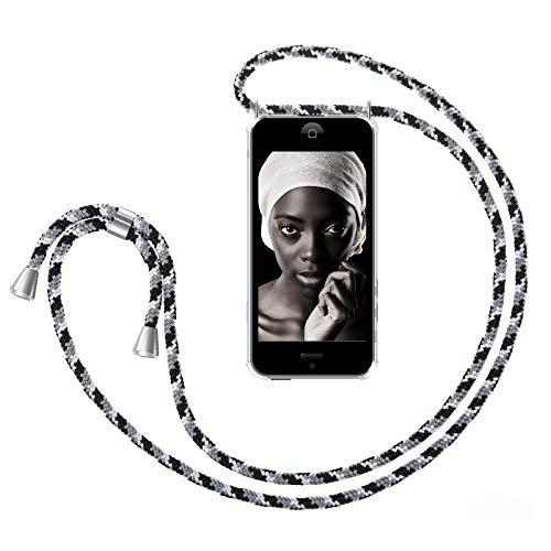 ZhinkArts Handykette kompatibel mit Apple iPhone 5 / 5S / SE (2016) - Smartphone Necklace Hülle mit Band - Handyhülle Case mit Kette zum umhängen in Schwarz Camouflage