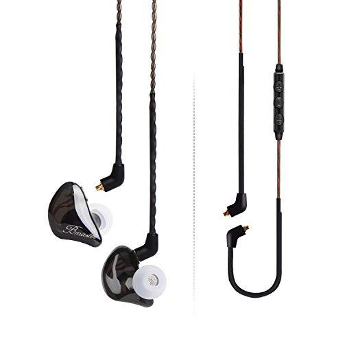 BASN Bmaster Ohr-Monitor-Kopfhörer mit abnehmbarem Kabel, passend für Audio-Ingenieure, Musiker Schwarz