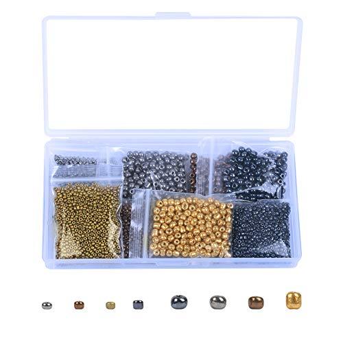 BELIOF 2800 Pcs Perles de Rocaille en Verre 2mm 4mm Perle Rocaille Assortiment en 4 Couleurs pour Bricolage Bijoux DIY Fabrication de Bracelet Boucle d'Oreille Collier