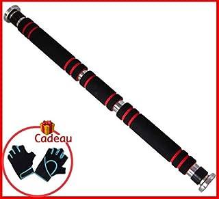 Barra de tracción para barra de musculación de pared sin fijación ajustable, acero inoxidable, con 2 asas multifunción, 60 – 105 cm, puede soportar hasta 150 kg