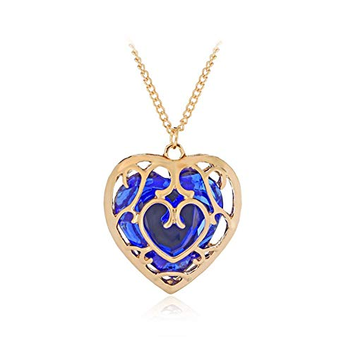 ZBOMR The Legend of Zelda Skyward Sword Hollow Heart Collar de Cristal Contenedor Cosplay Creado Zafiro Rubí Gran Corazón Colgante Anime Joyas Regalos de San Valentín para Mujeres Niña (Blue)