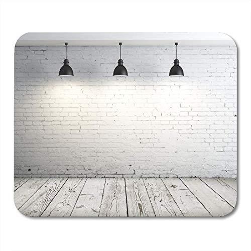 N\A Alfombrillas de ratón Pared Blanca en Blanco lámpara de Techo en la habitación Alfombrilla de ratón de ladrillo Gris para portátiles, Alfombrillas de Escritorio Suministros de Oficina