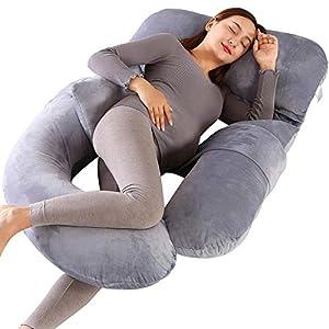Dkinghome - Almohada de embarazo en forma de U para dormir, almohadas de maternidad para espalda, caderas, piernas, vientre para mujeres embarazadas (gris)