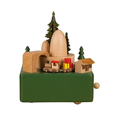 AIJOAN-BJ Statue Decorative Casa Ornamento Statua Carillon Di Natale In Legno Carillon Per Bambini Trenino Artigianale