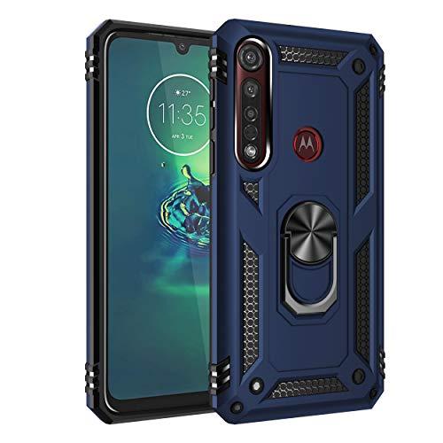 Dedux Hülle für Motorola Moto G8 Plus [Tough Armour Series] Rugged Anti-Scratch PC Rückwand Schale + Shockproof TPU + Faltbarer Halterungen.Navy blau
