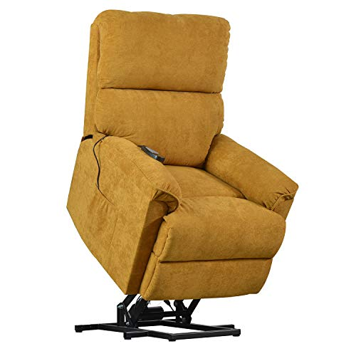 Merax Electric Recliner Chair Lazy Sofa for Elderly, Power Lift Massage and Heat Function for Office or Living Room, Yellow