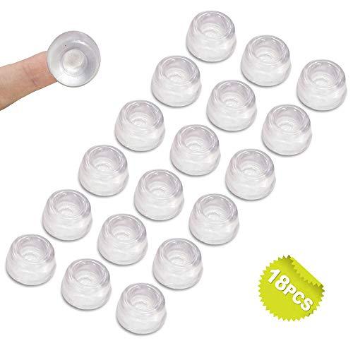 Uni-Fine 18 piezas Lagrimas Silicona para Cristales 22 mm Transparentes Almohadilla Puertas Topes Adhesivos Transparentes Silicona Cristal Mesa de Ruido,protector antigolpes,búfer muebles
