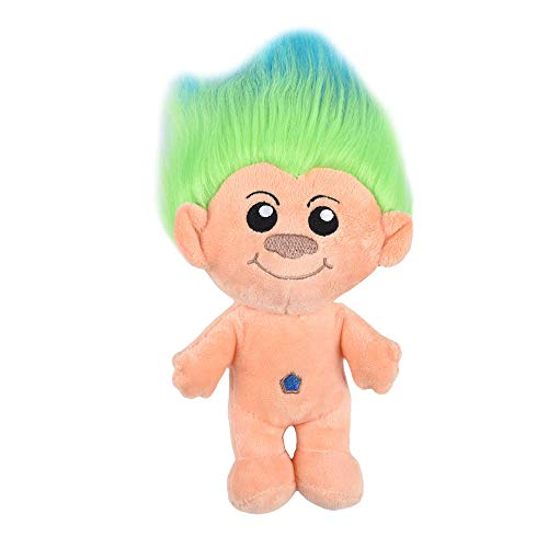 Universal Studios Trolls Toys for Dogs | Plush Dog Toy with Blue/Green Hair, 9 Inches | Soft and Cute Squeaky Dog Toys for All Dogs, Stuffed Animals for Dogs