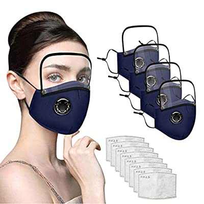 Maxhace 4Pcs Face Bandanas with Breathing Valve,8 Pcs Filters and Detachable Eye Shield for Adults,Reusable and Breathable