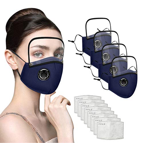 Reusable Face Covering with Breathing Valve Filter And Detachable Eye Shield Seamless Face Bandanas For Adults and Kids 1