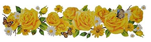 deko-punkt-roth. Fensterbild Blumen Rosen Margeriten Schmetterlinge Ranke gb Fenstersticker Fensterdeko