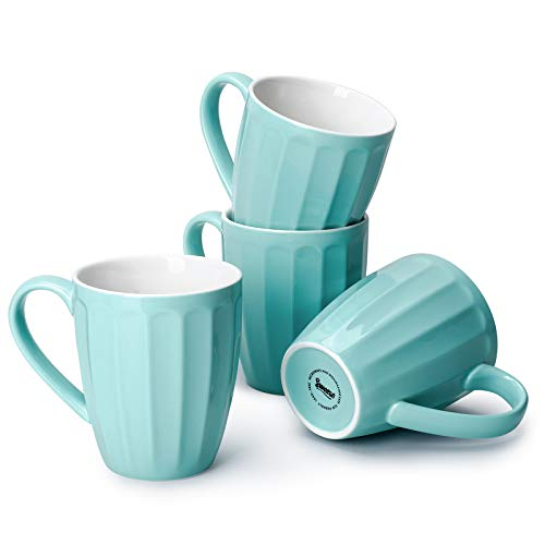 Sweese 602.102 Porcelain Fluted Mugs - 14 Ounce Coffee Cup Set for Coffee, Tea, Cocoa, Set of 4, Turquoise