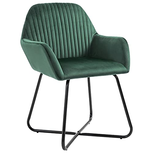 6 sillas de comedor de terciopelo, modernas de cocina con respaldo y reposabrazos, patas de acero barnizado en polvo, 61 x 61 x 84 cm, color verde