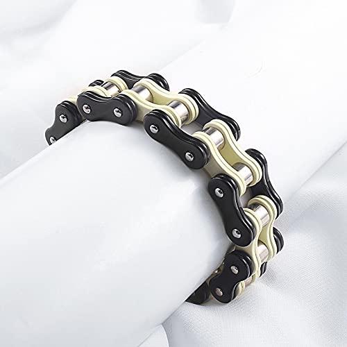 Pulsera de acero de titanio para hombre de moda, pulsera de cadena locomotora de motocicleta dominante con personalidad, accesorios de moda
