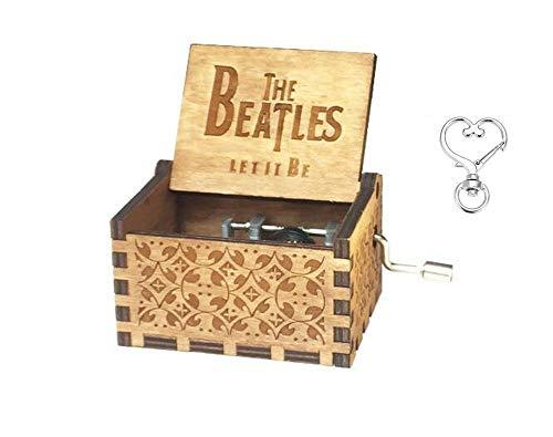 Cuzit Antik Geschnitzte Spieluhr mit Melodie von The Beatles - Geburtstagsgeschenk, Partyzubehör, Handkurbel, Holzspielzeug