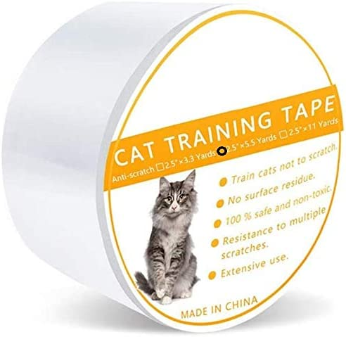 Cat Scratch Clear Double-Sided Deterrent Tape pad sheet,Furniture Protector, Residue, Clear Double Sided Anti Scratch Cat Deterrent Training Tape, Cat Sticky Paws Tape (2.5Inch*5.5Yards)