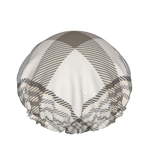 Gorro de ducha a cuadros crema beige marrón gris belleza moda impermeable doble capa gorro de baño elástico uso doméstico gorro de dormir