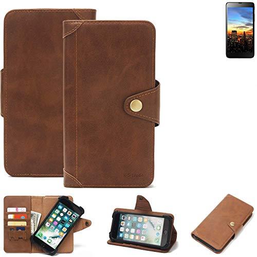 K-S-Trade® Handy Hülle Für Hisense HS-U970E-8 Schutzhülle Walletcase Bookstyle Tasche Handyhülle Schutz Case Handytasche Wallet Flipcase Cover PU Braun (1x)