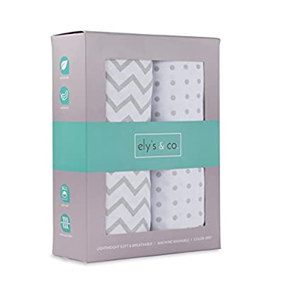Crib Sheet Set 2 Pack 100% Jersey Cotton for Baby Girl and Baby Boy by Ely's & Co. - Grey Chevron and Polka Dot by Ely's & Co.