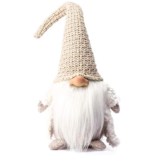 Funoasis Holiday Gnome Handmade Swedish Tomte  Christmas Elf Decoration Ornaments Thanks Giving Day Gifts Swedish Gnomes tomte 16 Inches (Khaki)
