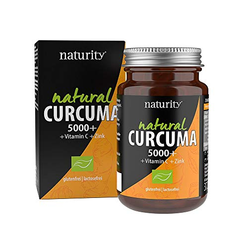 NATURAL CURCUMA 5000 +, hochdosierter Curcuma-Extrakt plus Vitamin C, Zink und Piperin, für Immunsystem, Muskeln und Gelenke (60 Kapseln)
