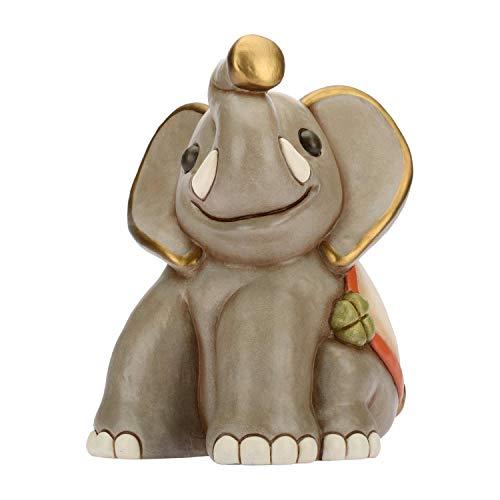 THUN ® - Elefantino Seduto con Quadrifoglio Portafortuna - Animali Soprammobile da Collezione - Ceramica - I Classici
