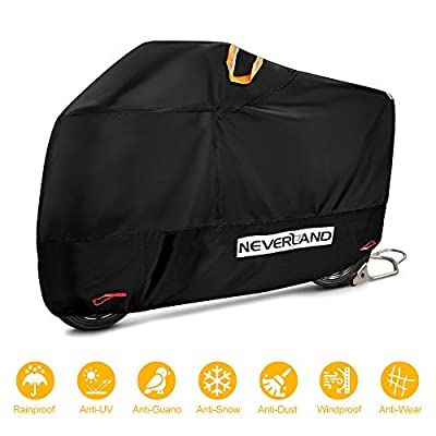 """NEVERLAND Motorcycle Covers, Heavy Duty 210D Waterproof UV Protective Tear Proof Motorbike Cover with Safety Cloth Lock Holes Design, All Weather Outdoor Protection (XL Fits up to 96"""") by NEVERLAND"""