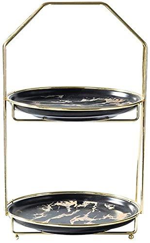 N\A Pastel de cerámica Pastel de 2 Capas Torre Circular Torre Cerámica Pastel de cerámica Torre Torre Tiempo de Ocio para Disfrutar del té de la Tarde para la Fiesta de cumpleaños de la Boda