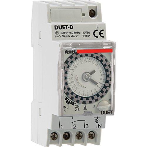 Vemer VP879100 Interruttore Orario Elettromeccanico Duet-D, Grigio Chiaro