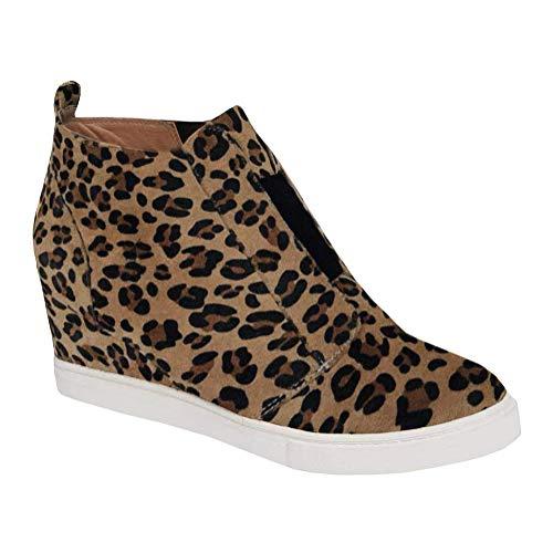 Minetom Damen Stiefeletten Plateau Wildleder Leopardenmuster Loafers Mokassins Plattform Halbschuhe Sneaker mit Keilabsatz Casual Bequem Schuhe A Leopard EU 38