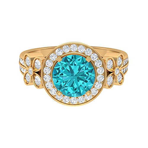 2.73 CT Solitaire Halo Ring, 8 MM Lab Created Green Paraiba Tourmaline Ring, D-VSSI Moissanite Halo Ring with Side Stones, (AAAA Quality), 18K Yellow Gold, Size:UK K