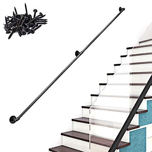 30-600cm Pasamanos industriales de Escalera de Tubo de Hierro Forjado Negro, pasamanos Antideslizantes de Seguridad para niños Mayores, pasamanos Interiores y Exteriores multifunción |,11ft/330cm