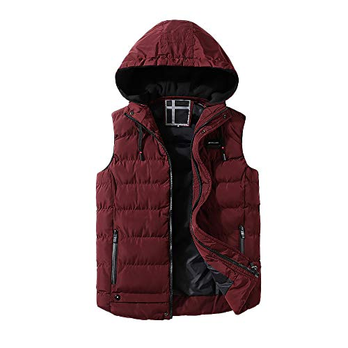 Men's Clothing, Winter Long Sleeve, Male Autumn Winter Coat Padded Cotton Vest Warm Hooded Thick Vest Jacket Top (Red, XXL)